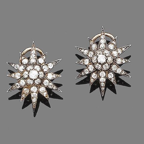 A pair of 19th century diamond star earrings