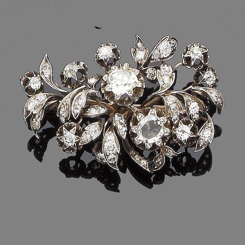 A 19th century diamond flower brooch
