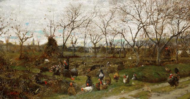 Luigi Nono (Italian, 1850-1918) Paesaggio d'autunno con tacchini