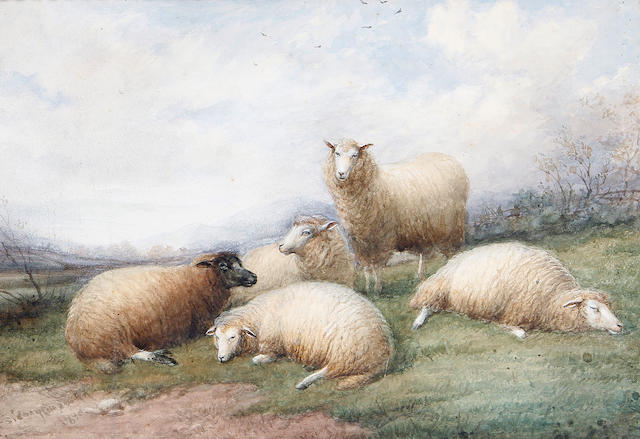 Thomas Sidney Cooper, RA (British, 1803-1902) Sheep resting on a hillside