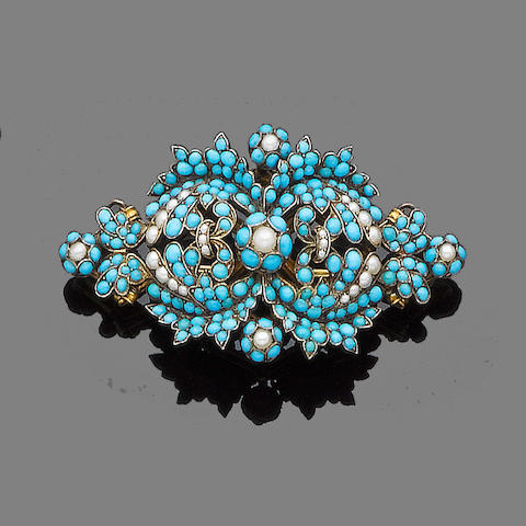 A turquoise and seed pearl brooch, single earring and pendant suite, (3)