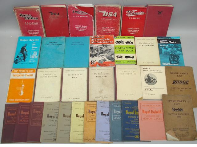 Assorted maintainance literature for pre and post-War British motorcycles,