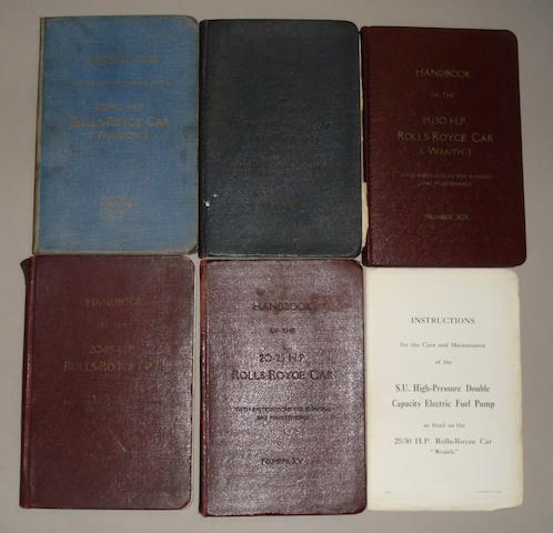 Five Rolls-Royce Instruction books,