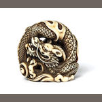 An ivory netsuke of a dragon Kyoto, Late 18th century