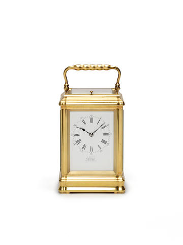 A good late 19th century French brass grande sonnerie striking carriage clock by Margaine, number 10125 Retailed by A Barrie, 4, George Street, Edinburgh