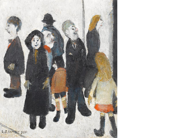 Laurence Stephen Lowry R.A. (British, 1887-1976) Group of People with the Artist 37.5 x 32 cm. (14 3/4 x 12 1/2 in.)