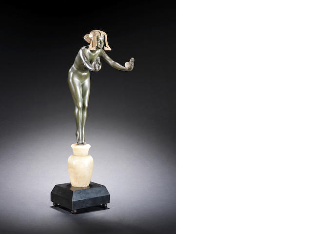 Claire Jeanne Roberte Colinet 'Egyptian Dancer' a Large Patinated Bronze, Ivory, and Alabaster Figure, circa 1925
