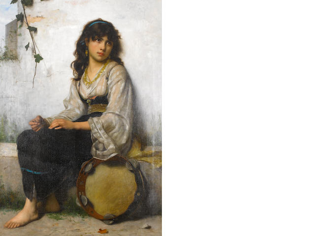 Francis Alfred Delobbe (French. 1835-1920) The Little Tambourine girl
