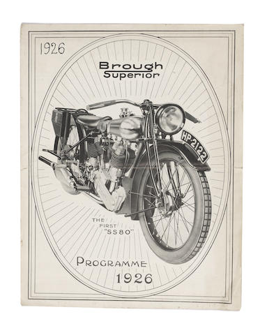 "A 1926 Brough Superior ""The First SS80"" Programme,"
