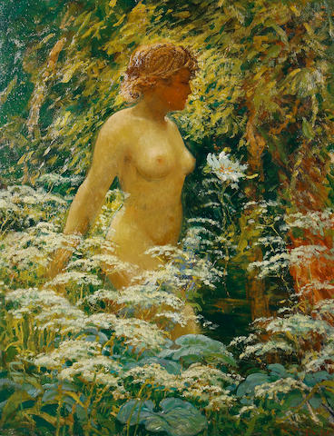 Karel Langer (Czech, 1878-1947) A female nude in a field of flowers