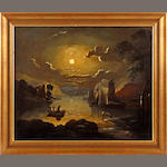Circle of Abraham Pether (Chichester 1756-1812 Southampton) Moonlit ruins by a river; and another moonlit scene (a pair)