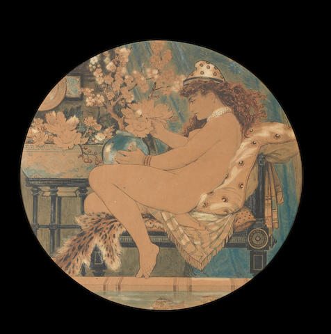William S Coleman 'Seated Nude' a Watercolour and Pencil Charger Design, circa 1875