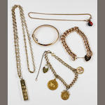 A small collection of gold jewellery