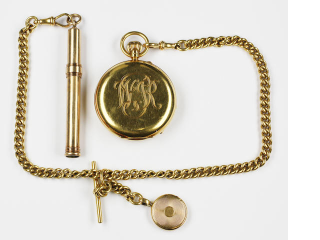 An 18ct gold pocket watch and Albert chain