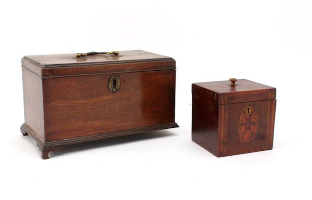 Two late 18th century mahogany tea caddies