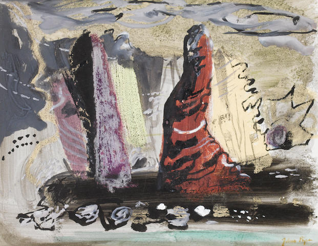 John Piper C.H. (British, 1903-1992) Bullslaughter Bay, near Portmadoc 27.5 x 35.5 cm. (10 3/4 x 14 in.)