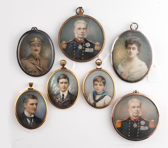English School, Late 19th and Early 20th Century Five oval portraits of members of the Banbury family including Edward (b. 1859) and Frances Banbury and their sons, William Michael (b. 1884) and Francis Edward (b. 1894), the latter wearing white sailor suit; including two circular portraits of Admiral Sir William King-Hall KCB (1816-1886)