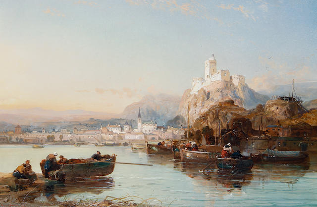 James Webb (British, 1825-1895) On the Rhine