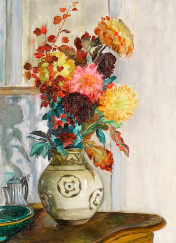 Henri Lebasque (1865-1937) Vase de Chrysantèmes