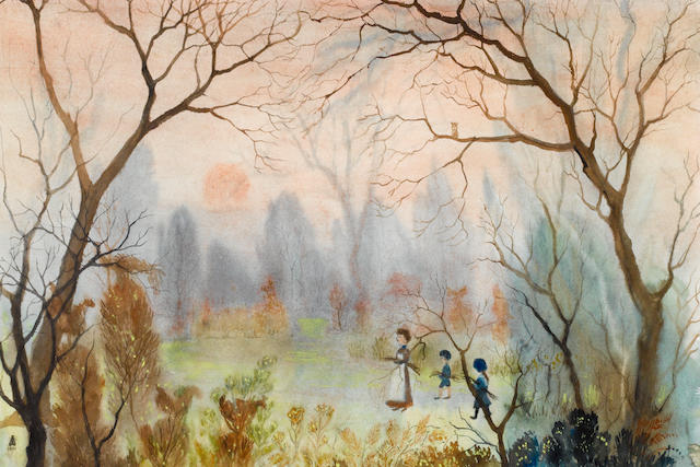 Helen Bradley (British, 1900-1979) Perparing the bonfire in the Enchanted Garden 37 x 54.5 cm. (14 1/2 x 21 1/2 in.)