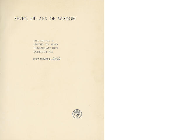 LAWRENCE (THOMAS EDWARD) Seven Pillars of Wisdom, NUMBER 442 OF 750 COPIES