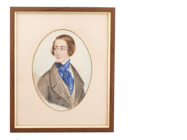Philip Augustus Barnard (British, active 1840-1884) Charles Dickens (1812–1870), wearing grey coat, pale yellow waistcoat, white chemise, blue cravat and gold shirt pin