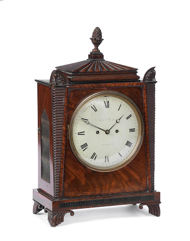 An early 19th century Egyptian taste mahogany bracket clock John Peterkin, London