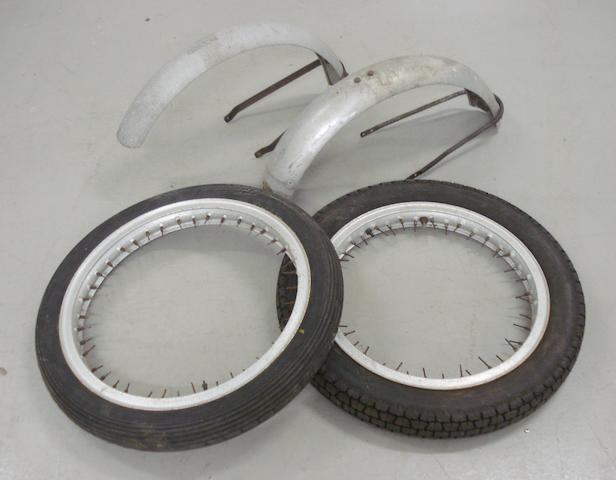 Two alloy wheel rims with tyres, suitable for Vincent,