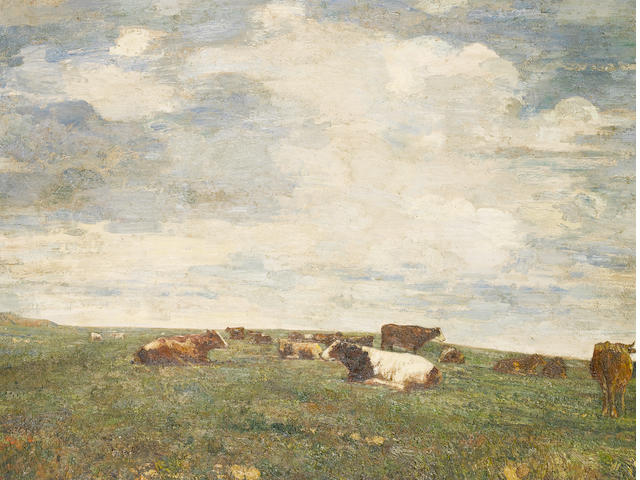 Beppe Ciardi (Italian, 1875-1932) Cattle in the field