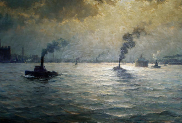 Paul Wolde (German, born 1885) Shipping at dusk