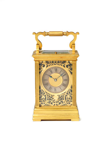A late 19th century French gilt brass carriage clock with repeat Maurice & Co