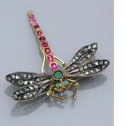 A diamond and gem set dragonfly brooch