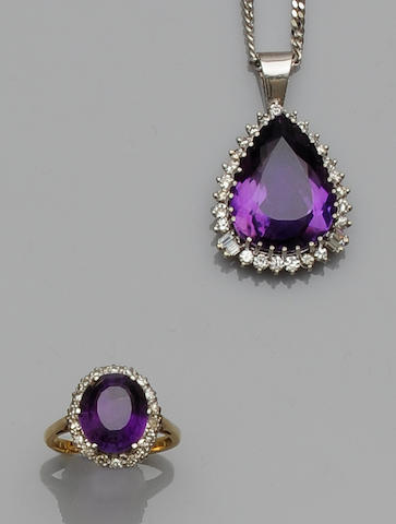 An amethyst and diamond pendant necklace and cluster ring