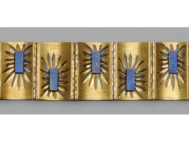 A lapis lazuli set panel bracelet