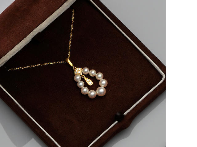A Mikimoto cultured pearl matched suite (2)