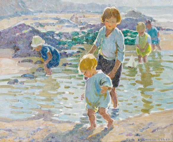 Dorothea Sharp (British, 1874-1955) Rock pooling 38 x 46 cm. (15 x 18 in.)