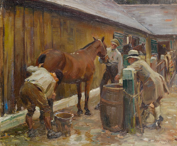 Sir Alfred James Munnings P.R.A., R.W.S. (British, 1878-1959) Washing a Cut 51 x 61 cm. (20 x 24 in.)