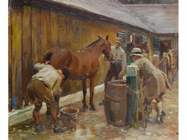 Sir Alfred James Munnings P.R.A., R.W.S. (British, 1878-1959) Washing a Cut 51 x 61 cm. (20 x 24 in.)