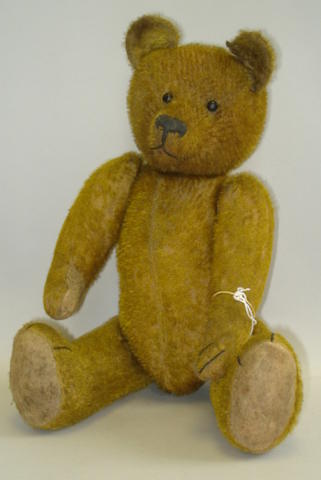 Golden mohair Teddy bear, Probably German circa 1920