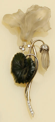 A jade and frosted glass flower spray brooch