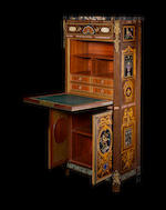 An exceptional ormolu-mounted amaranth, palissandre and espenille marquetry, specimen marble and pietre dure inlaid secrétaire à abattant by Emmanuel Alfred Beurdeley