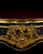 A rare ormolu-mounted ebony and ebonised Japanese lacquer bureau plat in the rocaille styleby Emmanuel Alfred Beurdeley, circa 1880