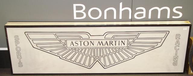 A large Aston Martin themed light box,