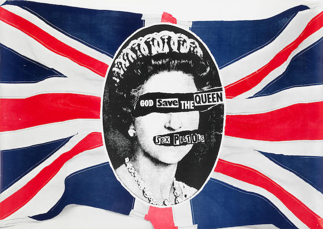 Sex Pistols: a 'God Save The Queen' Virgin Records promo poster,
