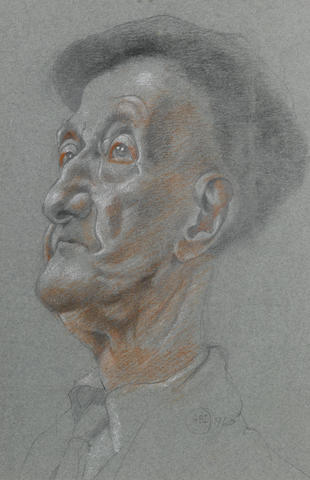 Bryan Ingham (British, 1936-1997) Portrait study of a man 25.5 x 16.5 cm. (10 x 6 1/2 in.)