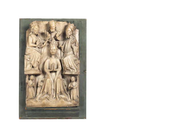 A 15th century Nottingham alabaster relief depicting the Coronation of the Virgin