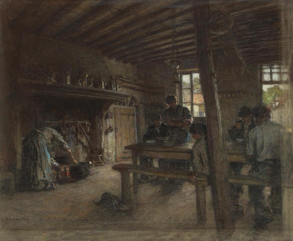 Léon Augustin Lhermitte (French, 1844-1925) Le Repas des Ouvriers à la Ferme