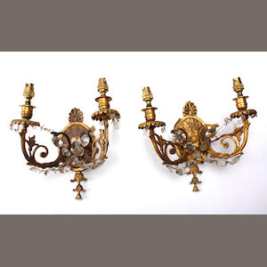 A pair of two light ormolu wall sconcesEarly 20th century