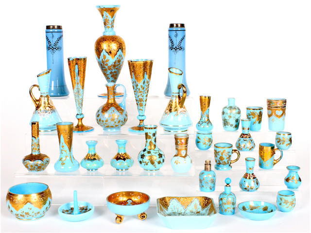 A quantity of Continental opaque turquoise glass 19th century and later