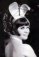 The Playboy Club: A complete original 1960s black and white 'psychadelic' bunny costume,  comprising; bodice, ears, name badge, tail, collar and cuffs,